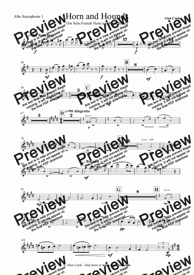 page one of the Alto Saxophone 1 part from Horn and Hounds (French Horn and Wind Band)