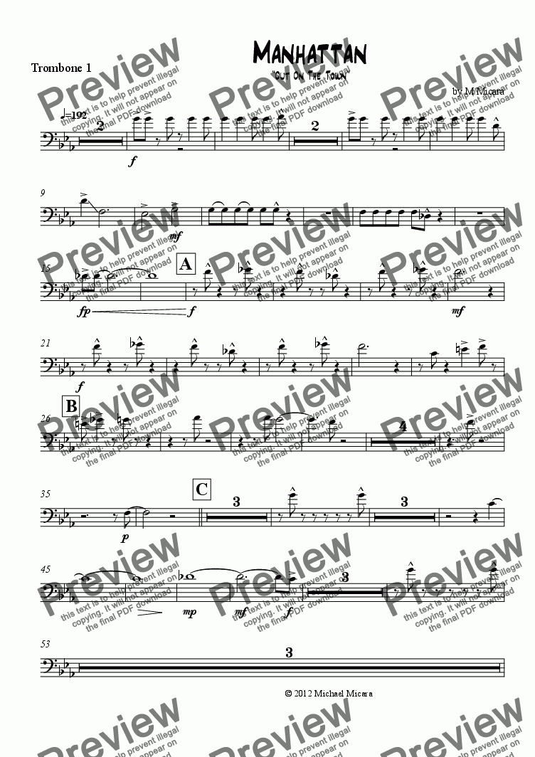 page one of the Trombone 1 part from Manhattan