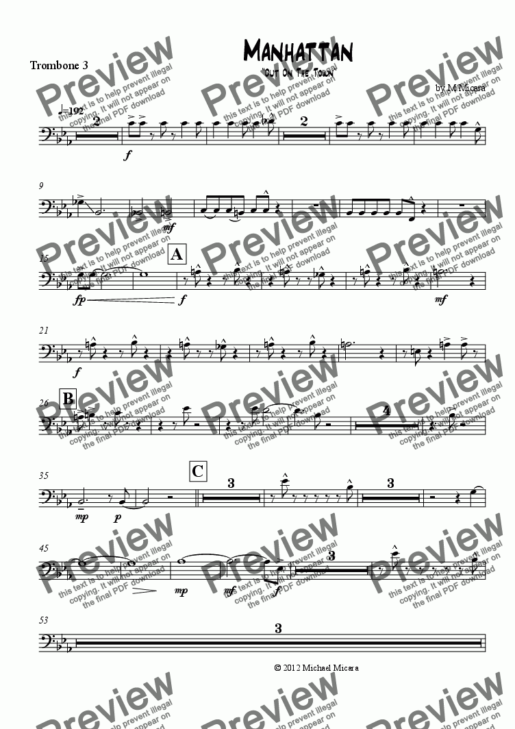 page one of the Trombone 3 part from Manhattan