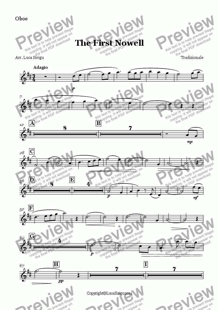 page one of the Oboe part from The First Nowell