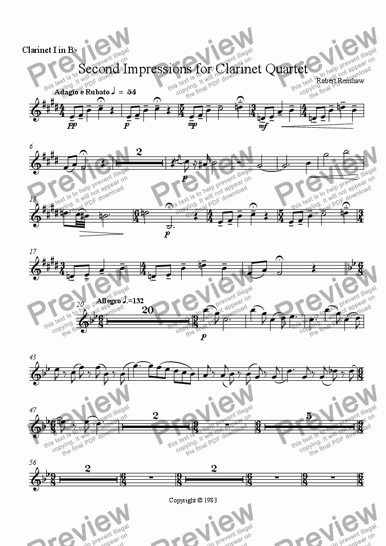page one of the Clarinet I in B^b part from Second Impressions for Clarinet Quartet