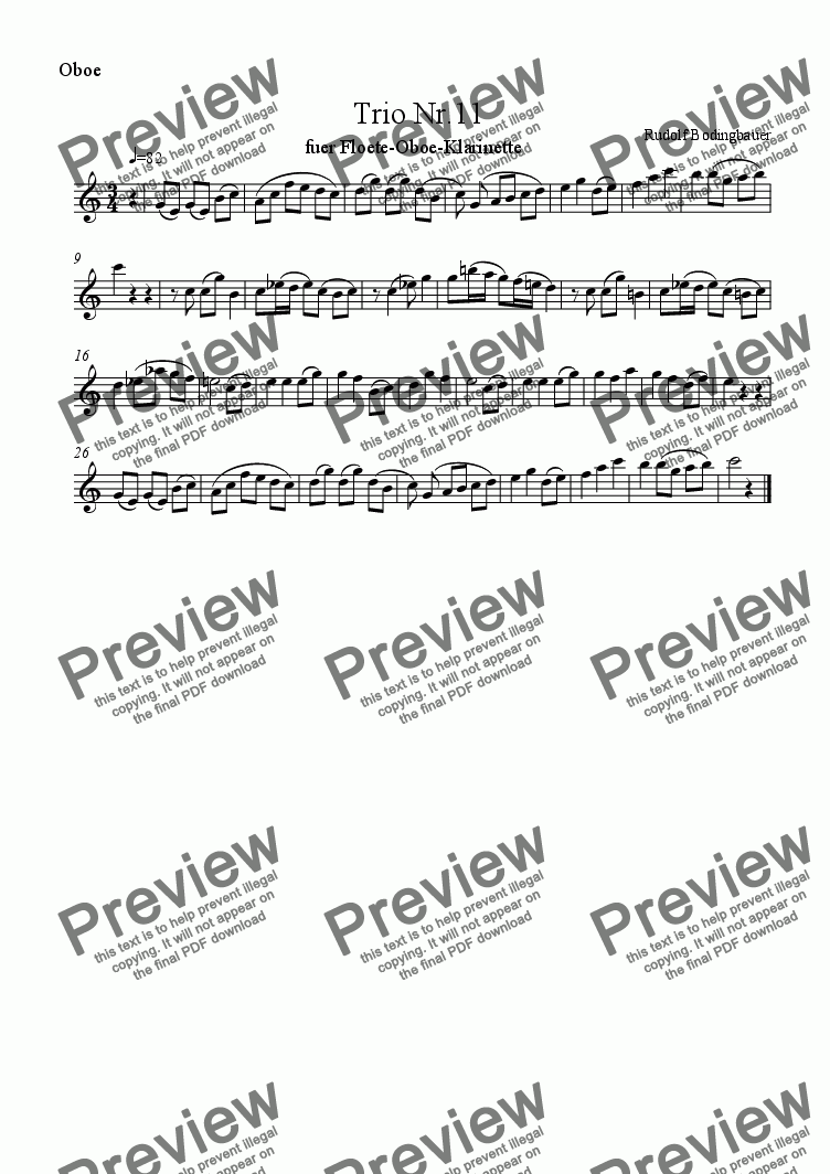 page one of the Oboe part from Trio Nr.11 fuer Floete-Oboe-Klarinette