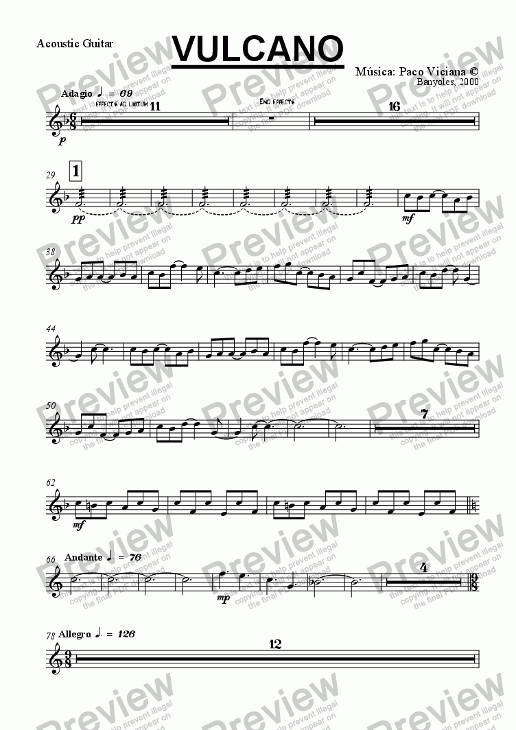 page one of the Acoustic Guitar part from 100-Vulcano