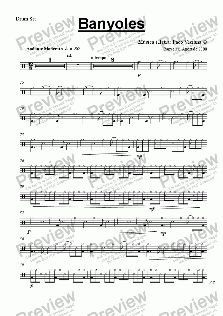 page one of the Drum Set part from 103b-Banyoles (catalan)