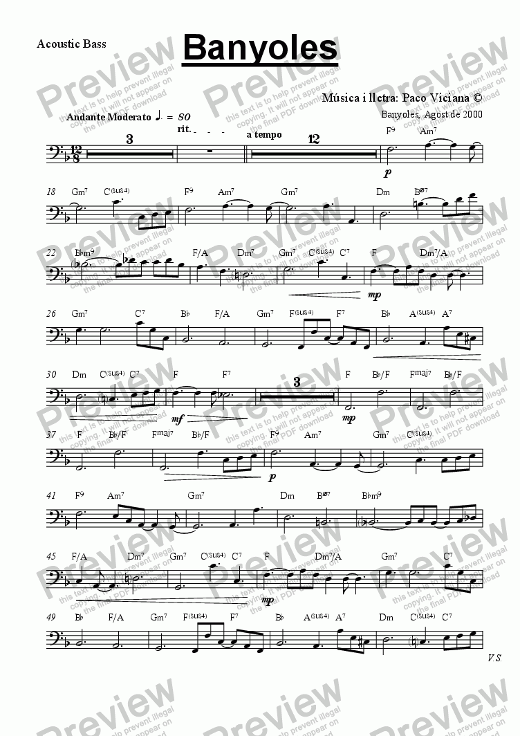 page one of the Acoustic Bass part from 103b-Banyoles (catalan)