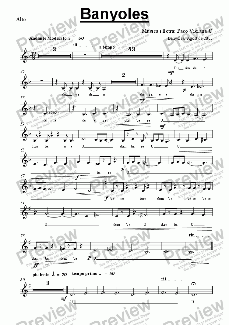 page one of the Alto part from 103b-Banyoles (catalan)