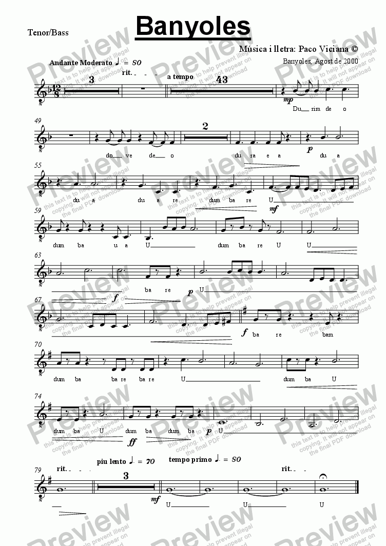 page one of the Tenor/Bass part from 103b-Banyoles (catalan)