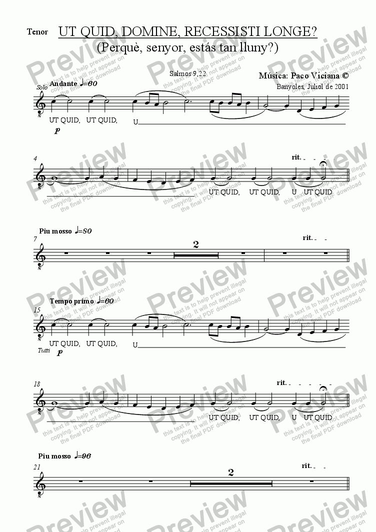 page one of the Tenor part from 104-Ut quid, domine, recessisti longe? (latin)