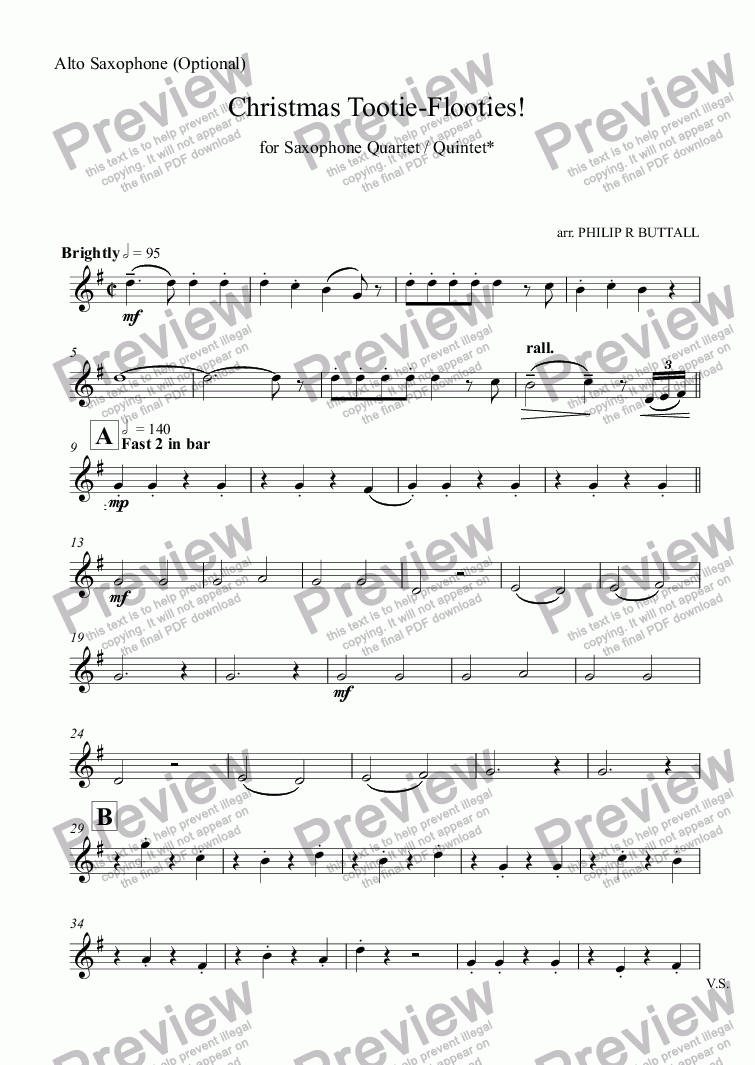 page one of the Alto Saxophone (optional) part from Christmas Tootie-Flooties! (Saxophone Quartet / Quintet)