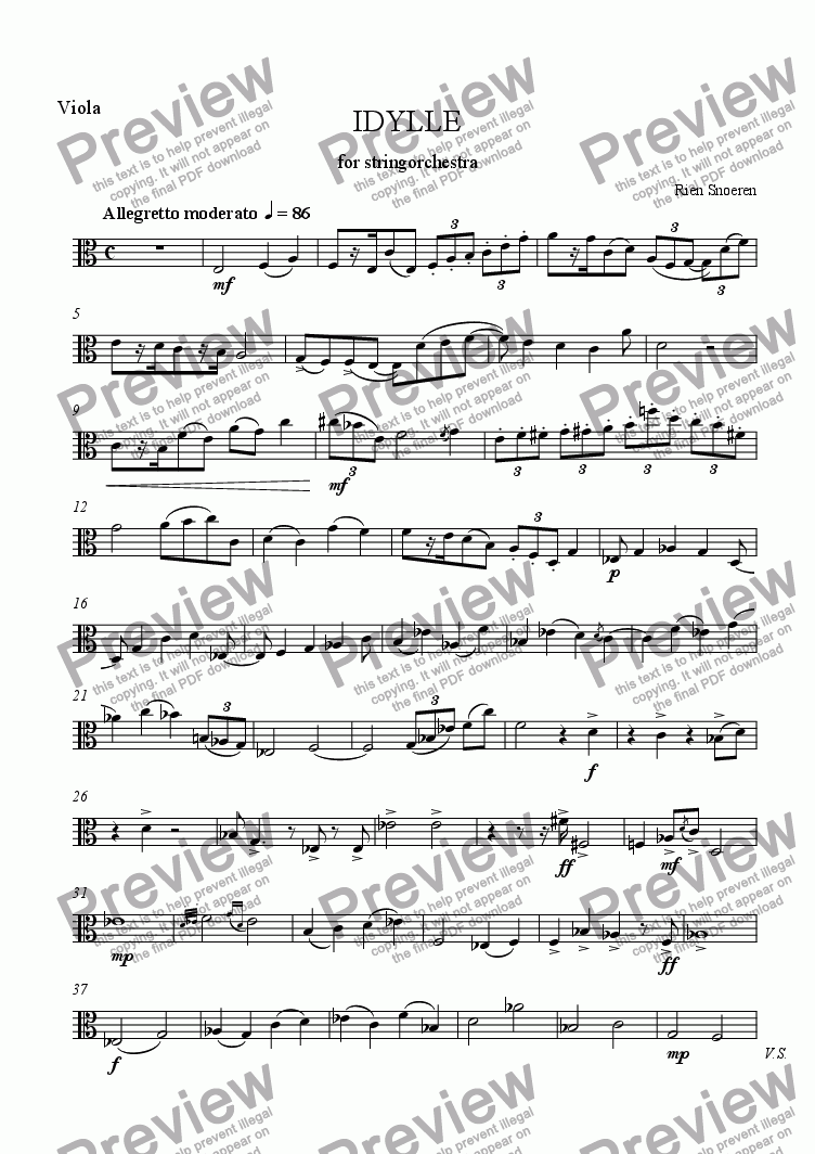 page one of the Viola part from IDYLLE for Strings