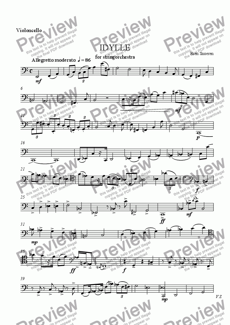 page one of the Violoncello part from IDYLLE for Strings