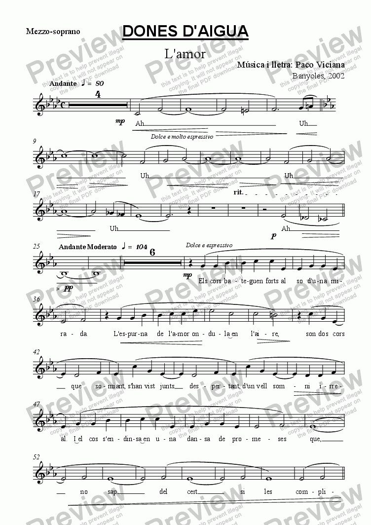 page one of the Mezzo-soprano part from 136-Dones d'aigua (L'amor) (catalan)