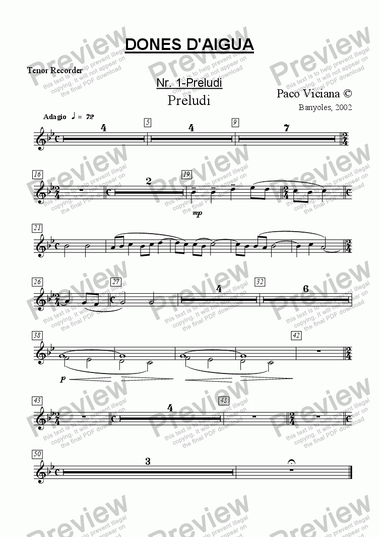 page one of the Tenor Recorder part from 136-Dones d'aigua (Nr. 01-Preludi)