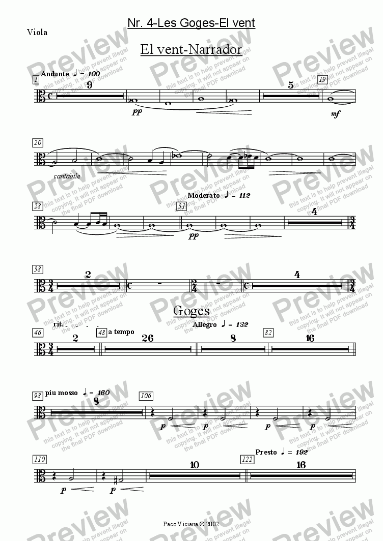 page one of the Viola part from 136-Dones d'aigua (Nr. 04-Les Goges-El vent)