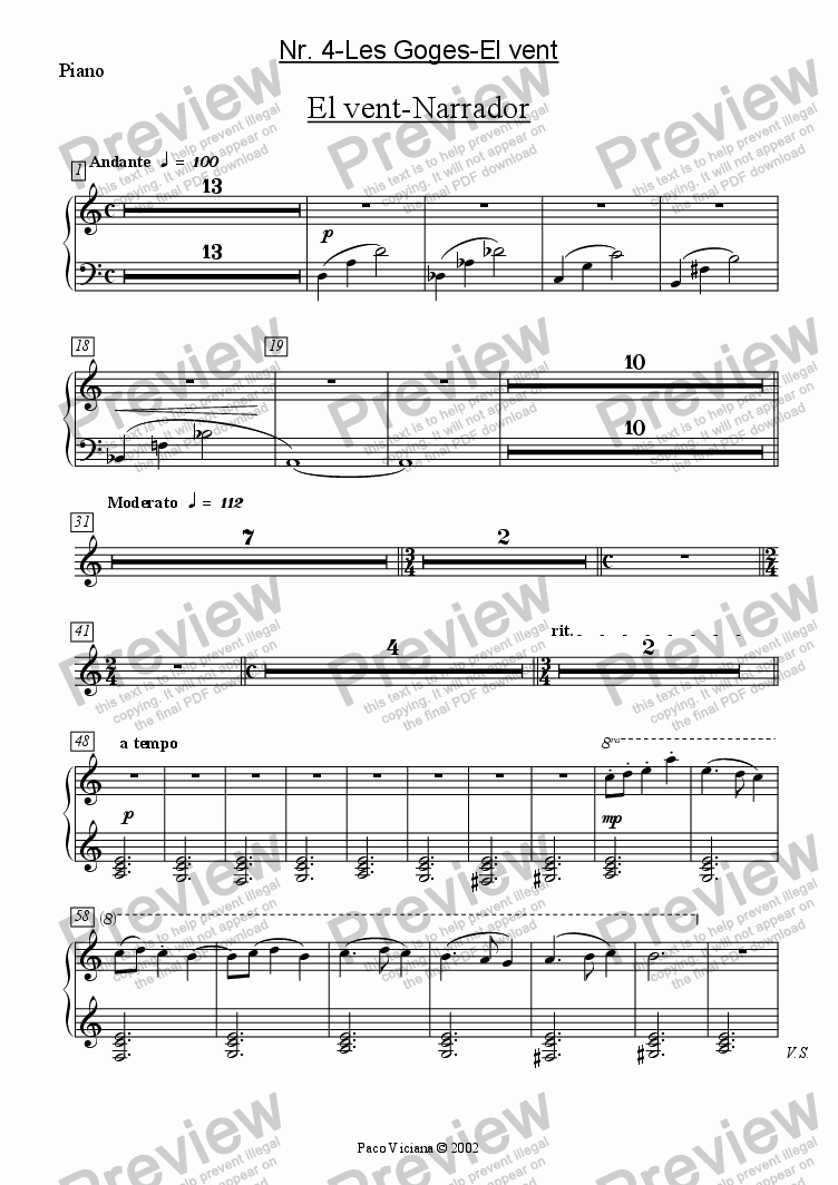 page one of the Piano part from 136-Dones d'aigua (Nr. 04-Les Goges-El vent)