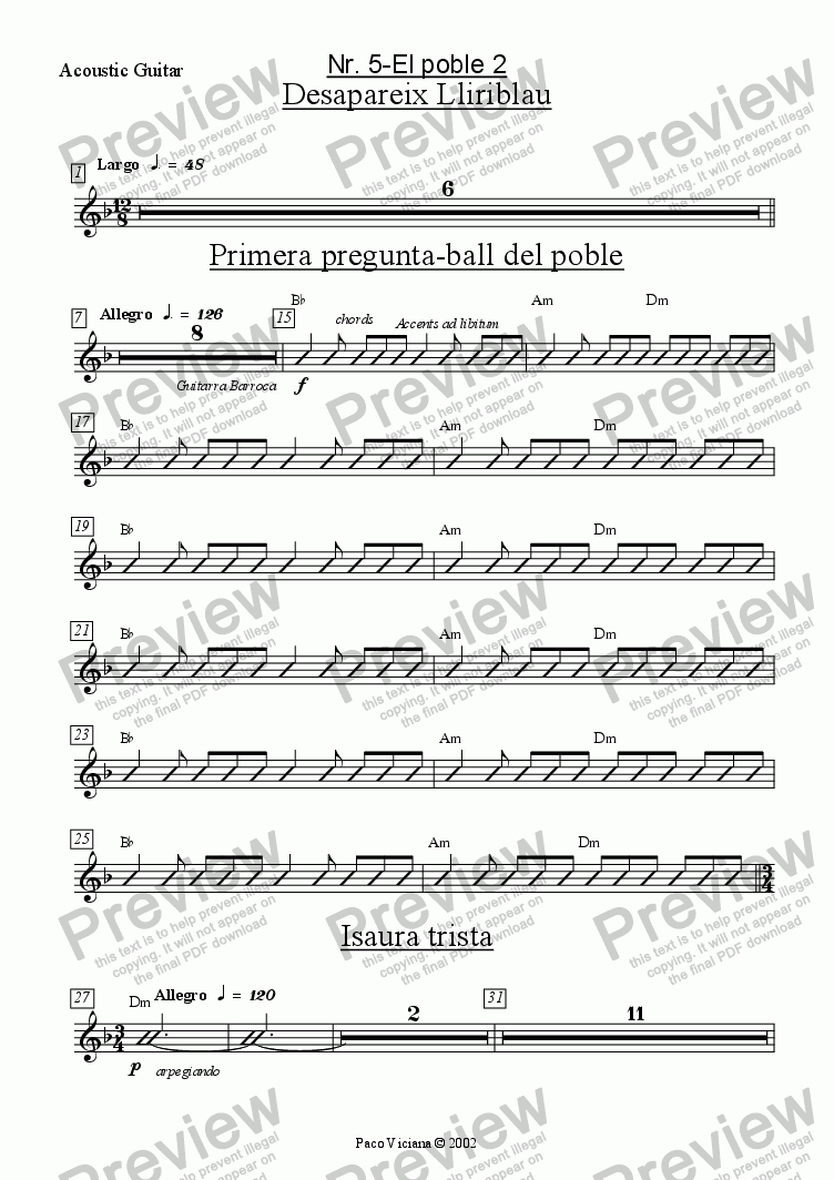 page one of the Acoustic Guitar part from 136-Dones d'aigua (Nr. 05-El poble 2)
