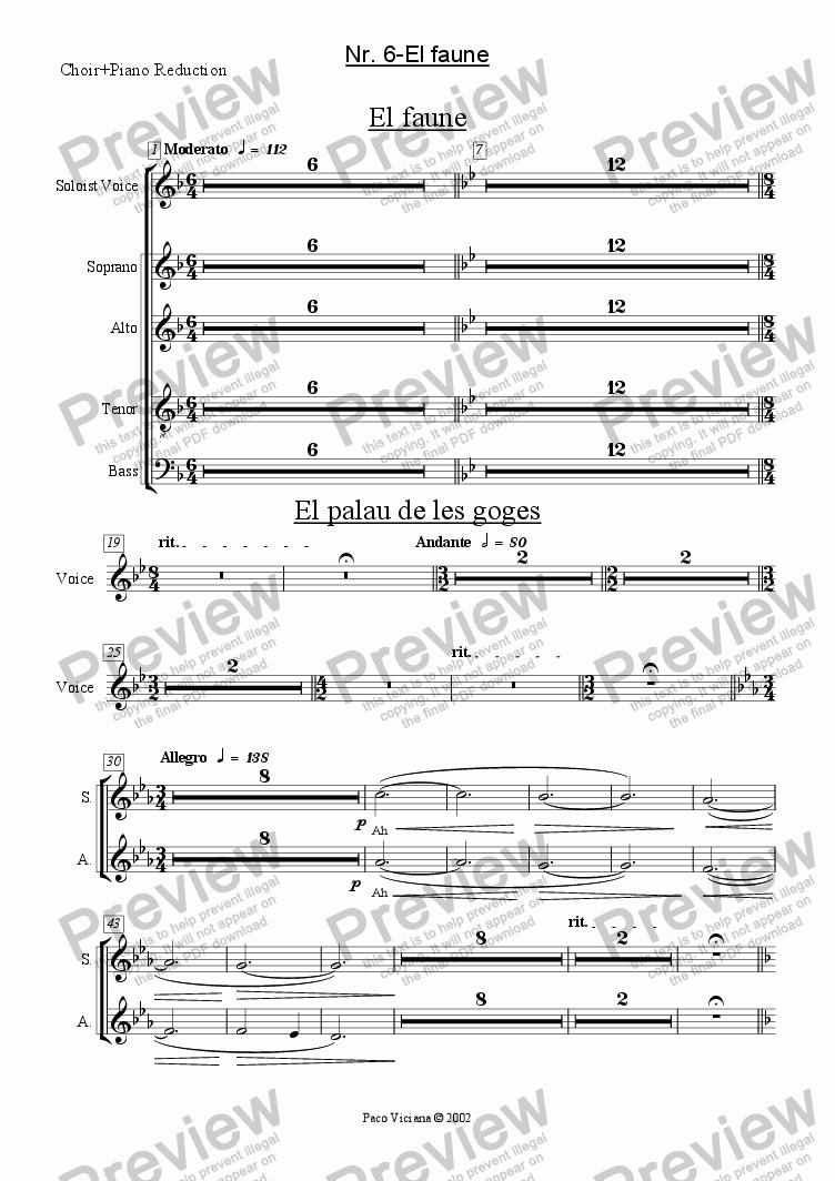 page one of the Choir+Piano Reduction part from 136-Dones d'aigua (Nr. 06-El Faune)