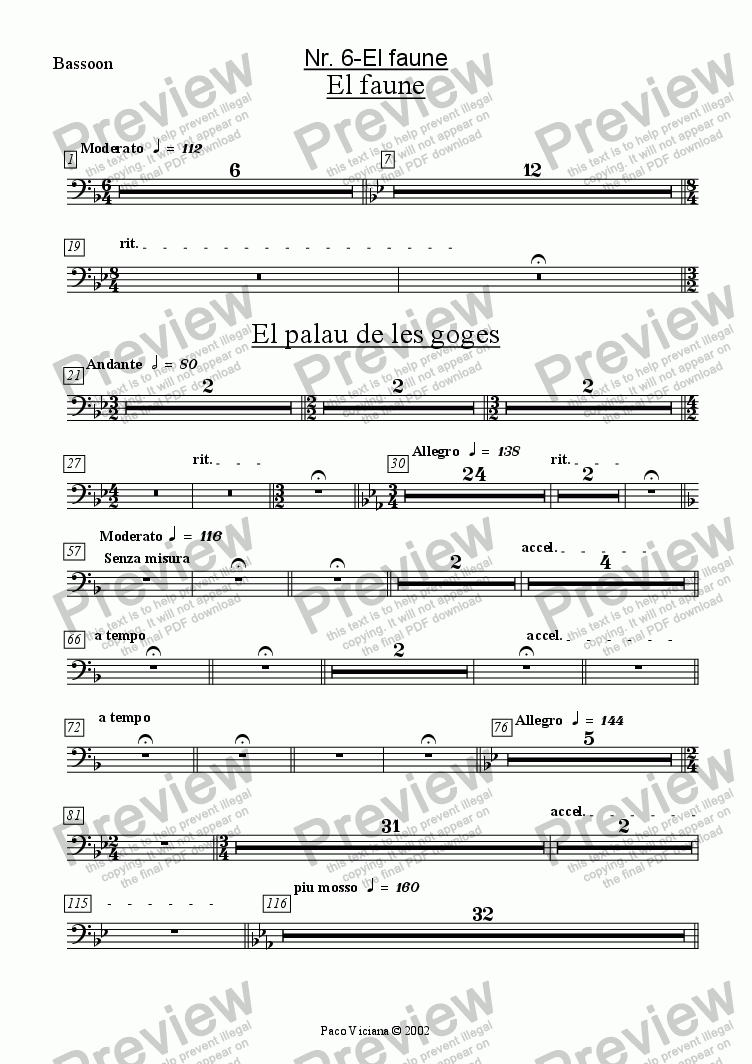 page one of the Bassoon part from 136-Dones d'aigua (Nr. 06-El Faune)