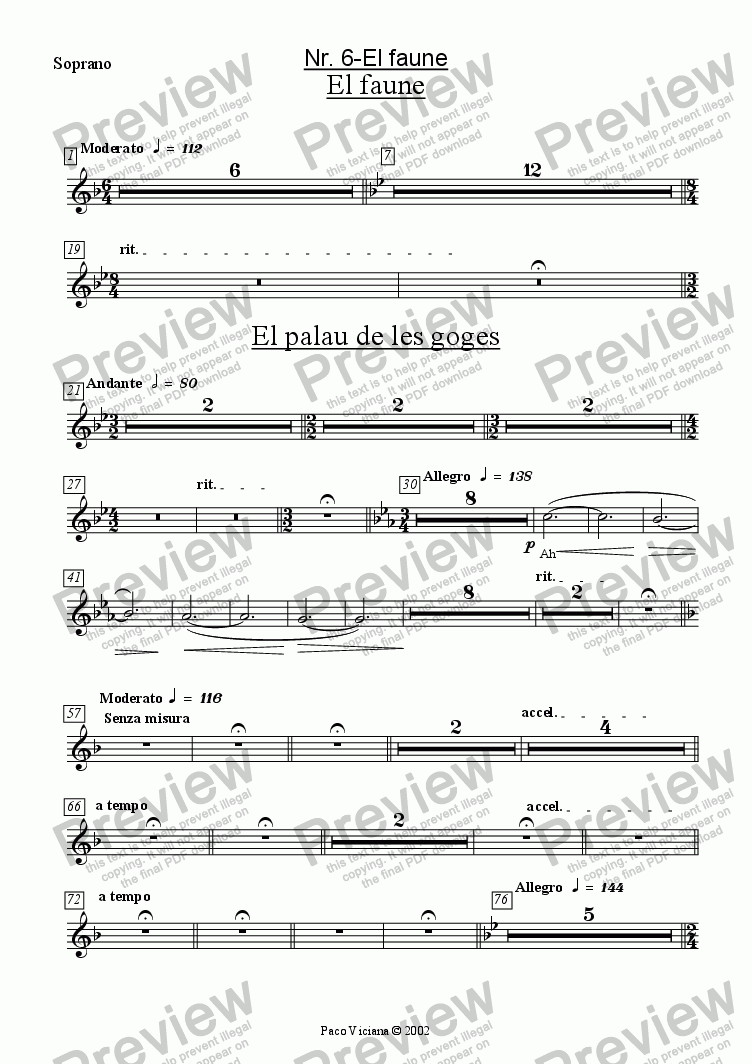 page one of the Soprano part from 136-Dones d'aigua (Nr. 06-El Faune)