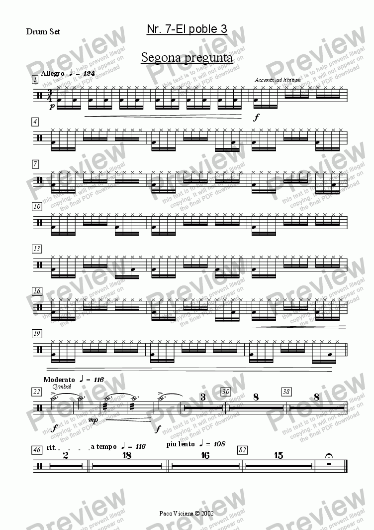 page one of the Drum Set part from 136-Dones d'aigua (Nr. 07-El poble 3)
