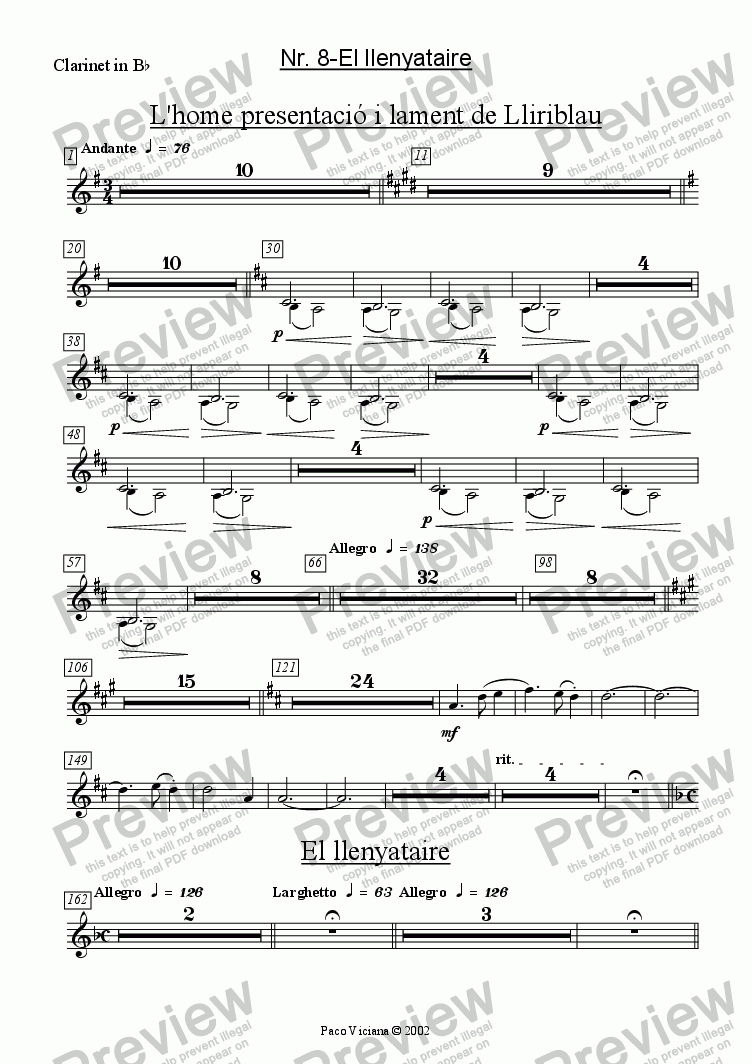 page one of the Clarinet in B^b part from 136-Dones d'aigua (Nr. 08-El Llenyataire)