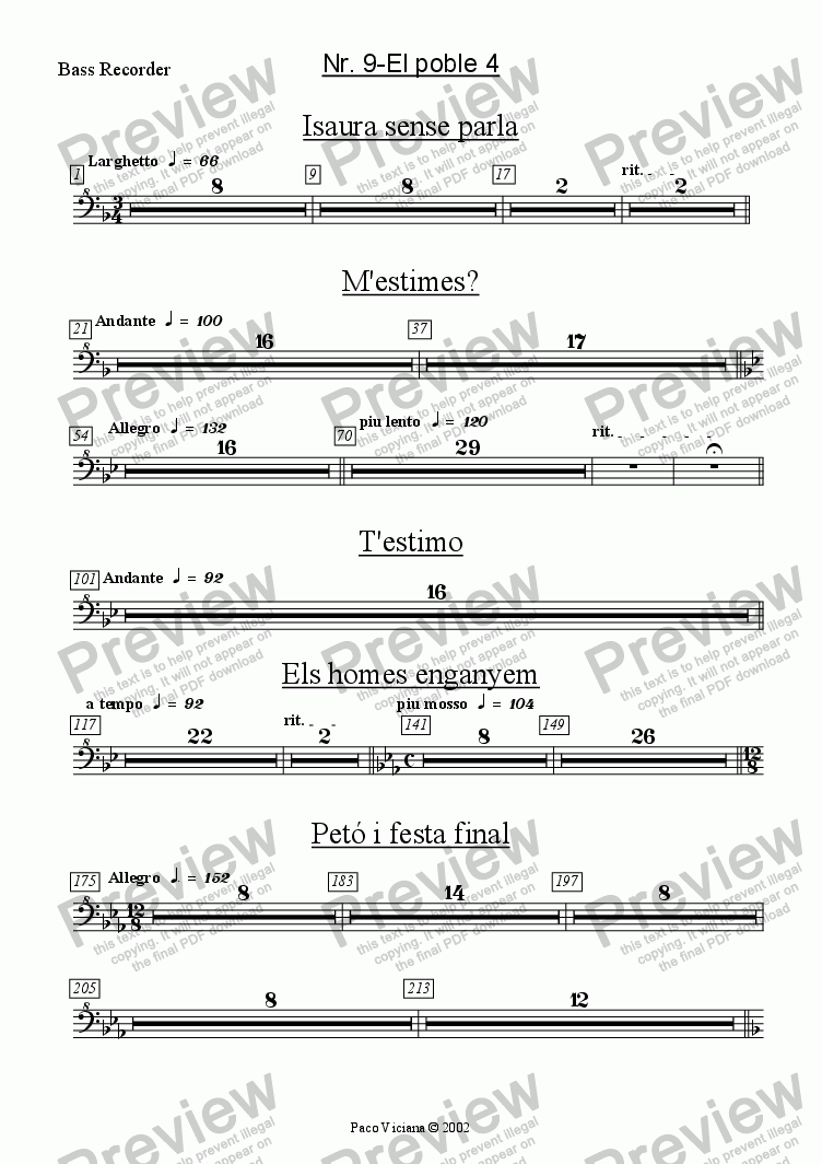 page one of the Bass Recorder part from 136-Dones d'aigua (Nr. 09-El poble 4)