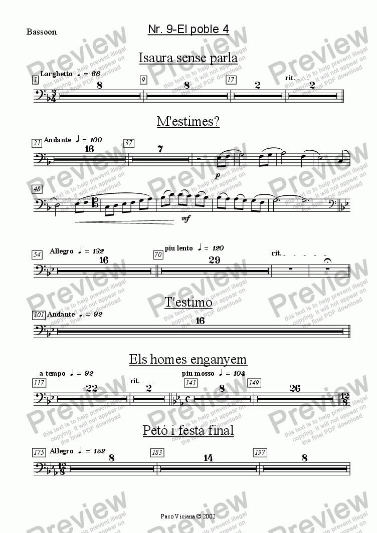 page one of the Bassoon part from 136-Dones d'aigua (Nr. 09-El poble 4)