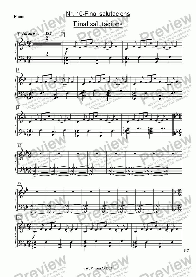 page one of the Piano part from 136-Dones d'aigua (Nr. 10-Final salutacions)