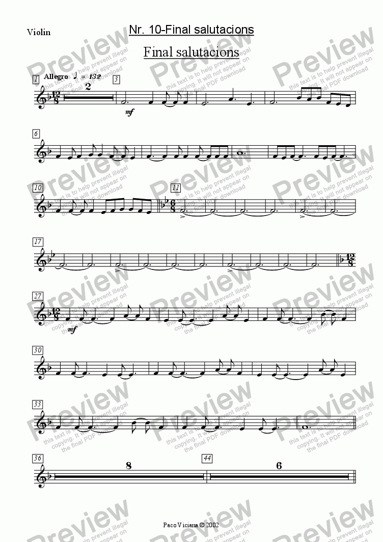 page one of the Violin part from 136-Dones d'aigua (Nr. 10-Final salutacions)