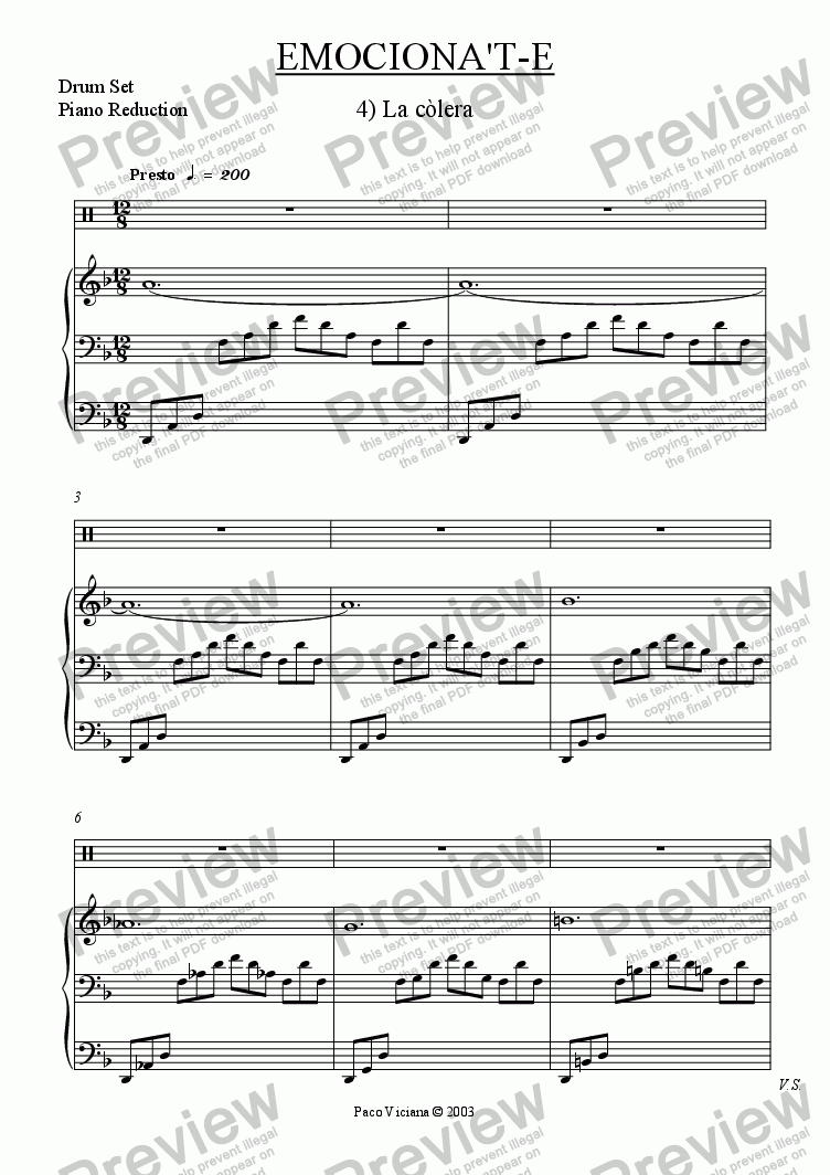 page one of the Drum Set, Piano Reduction part from 206-Emociona't-e (04-La Còlera)