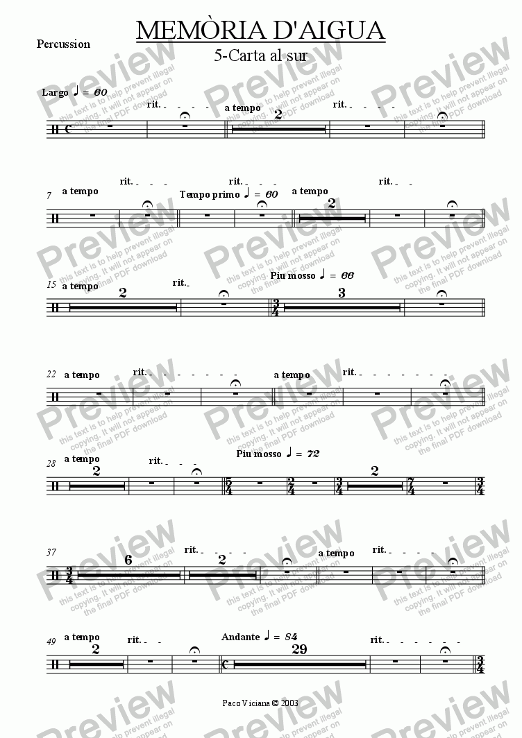 page one of the Percussion part from 174-Memòria d'aigua (05-Carta al sur)