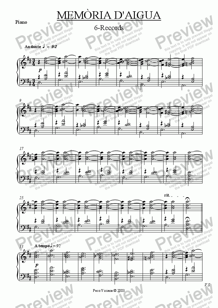 page one of the Piano part from 174-Memòria d'aigua (06-Records)