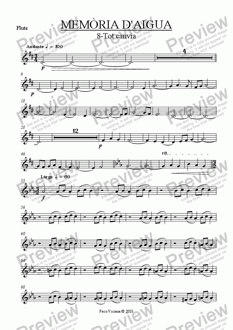 page one of the Flute part from 174-Memòria d'aigua (08-Tot canvia)