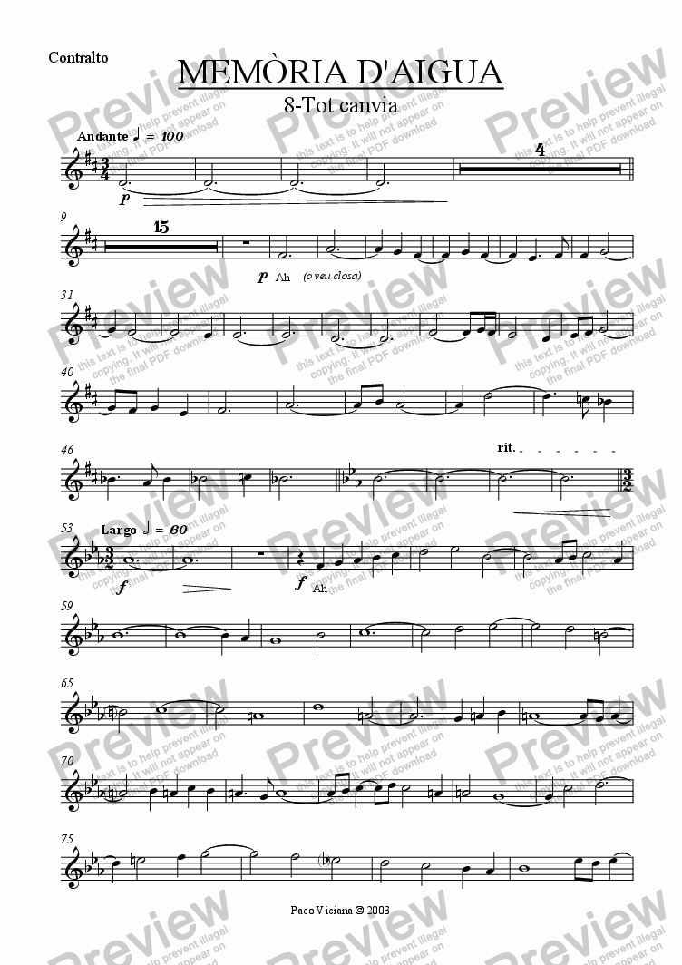 page one of the Contralto part from 174-Memòria d'aigua (08-Tot canvia)