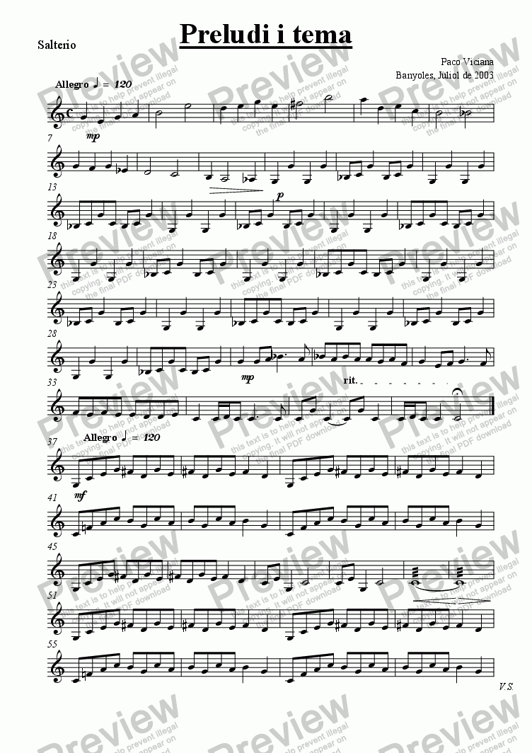 page one of the Salterio part from 202-Preludi i tema