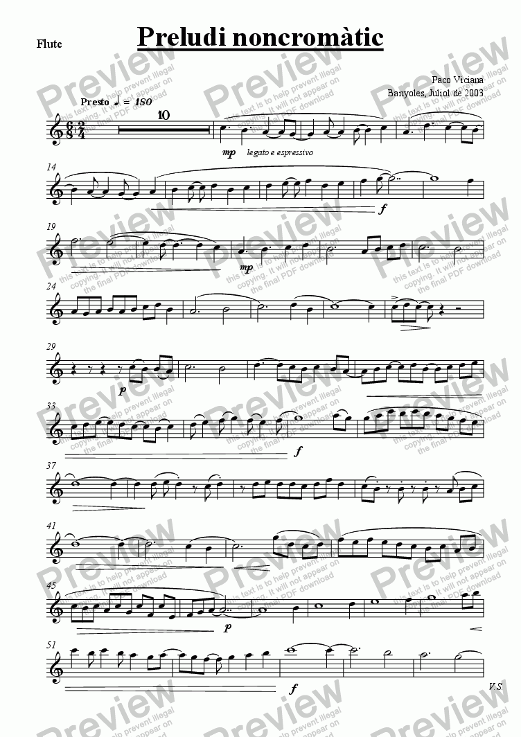 page one of the Flute part from 203-Preludi noncromàtic