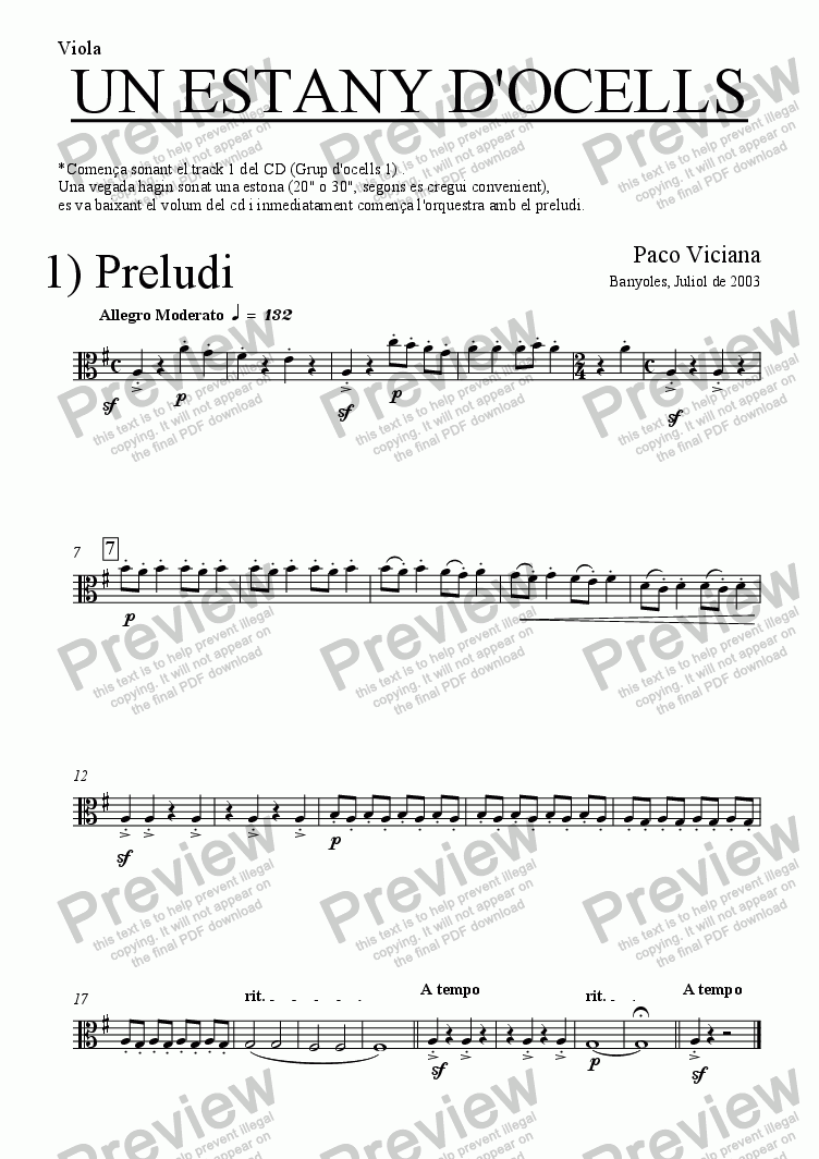 page one of the Viola part from 204-Un estany d'ocells