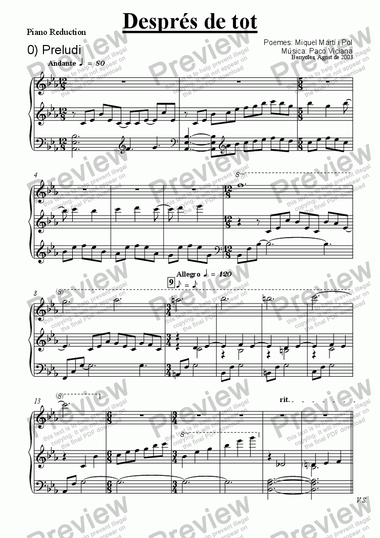 page one of the Piano Reduction part from 205-Després de tot (short version)