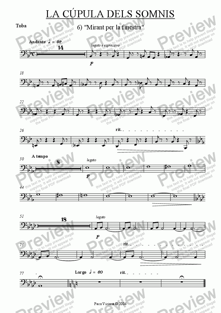 page one of the Tuba part from 209-La cúpula dels somnis (06-Mirant per la finestra)