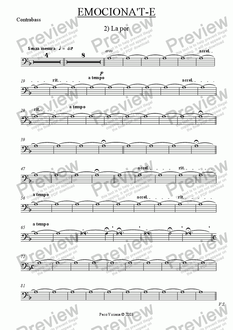 page one of the Contrabass part from 206-Emociona't-e (02-La Por)