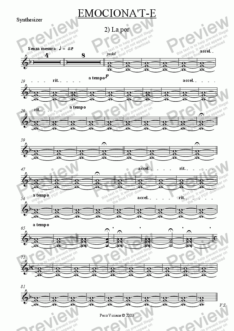 page one of the Synthesizer part from 206-Emociona't-e (02-La Por)