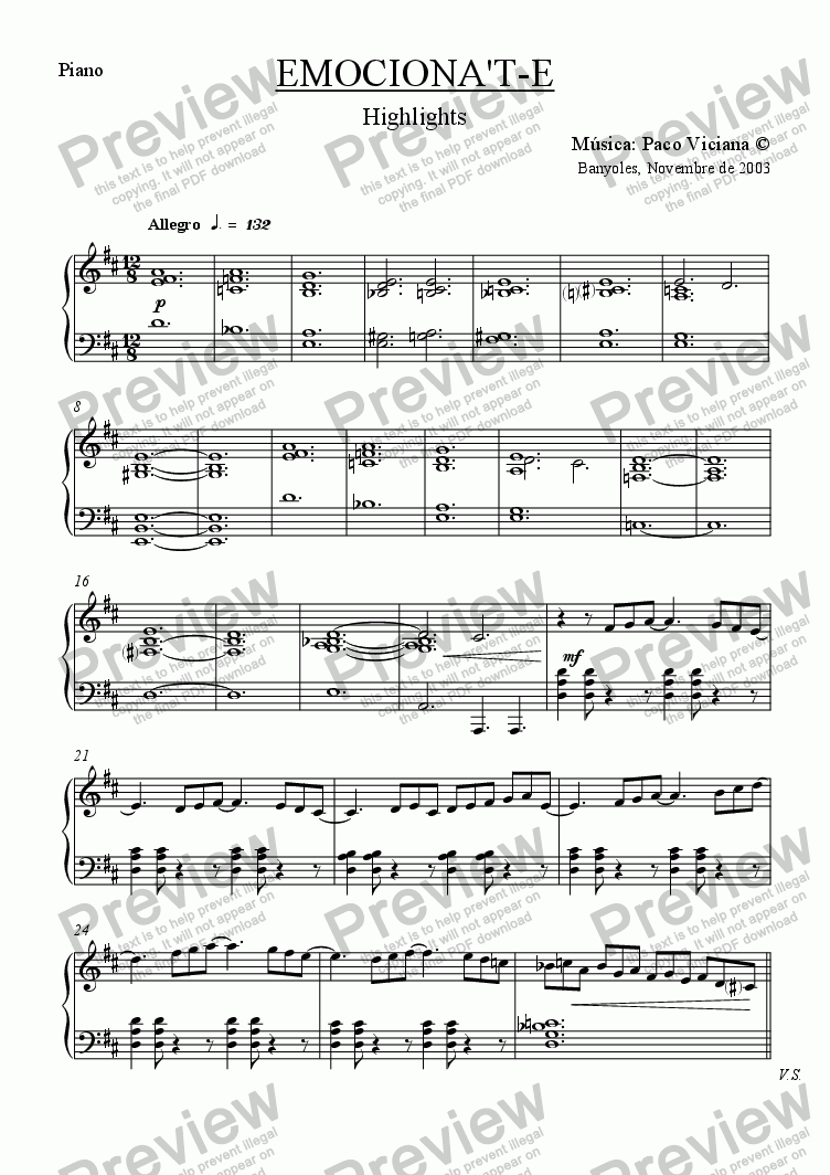 page one of the Piano part from 206-Emociona't-e (Highlights)-Clarinet/Piano version