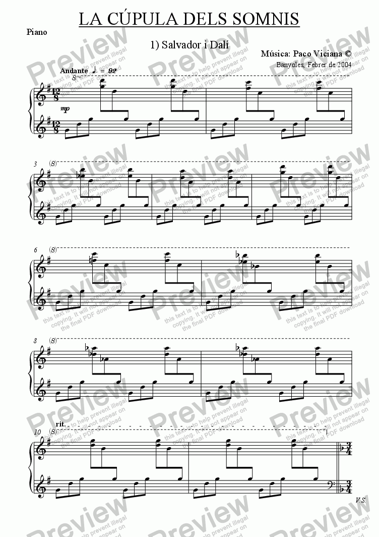 page one of the Piano part from 209-La cúpula dels somnis (01-Salvador i Dalí)-cobla version