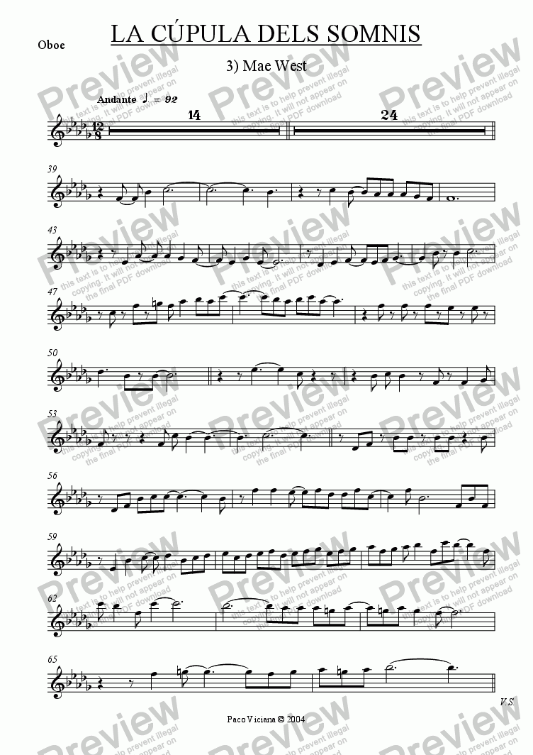 page one of the Oboe part from 209-La cúpula dels somnis (03-Mae West)