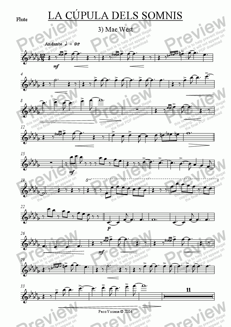 page one of the Flute part from 209-La cúpula dels somnis (03-Mae West)-cobla version