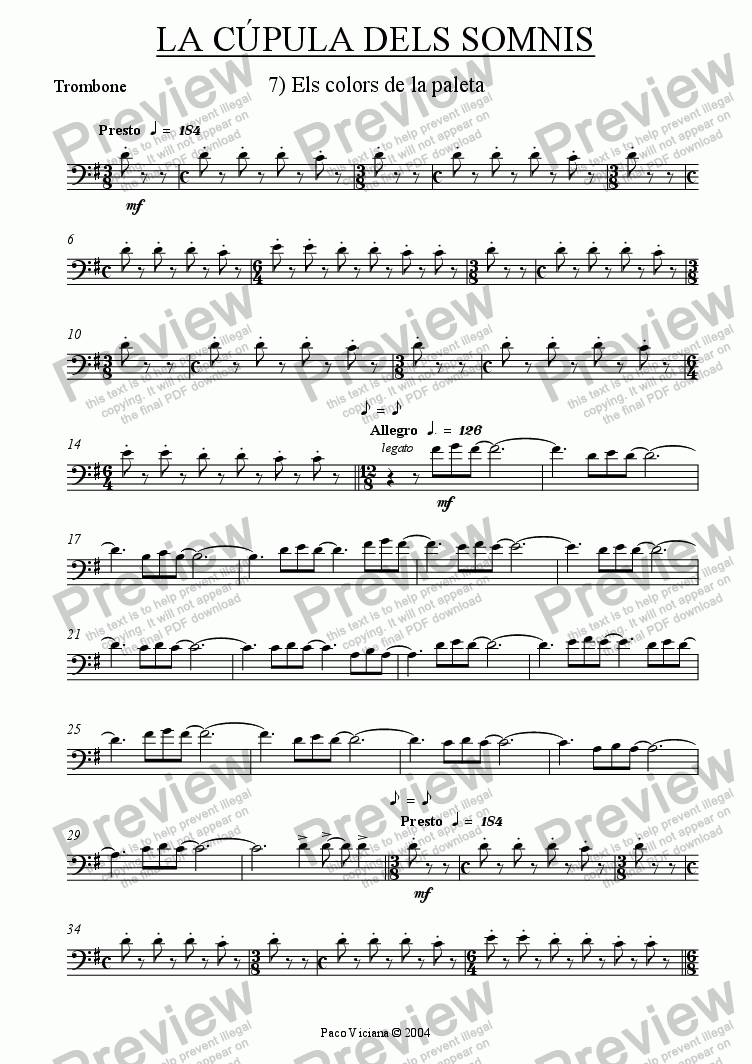 page one of the Trombone part from 209-La cúpula dels somnis (07-Els colors de la paleta)