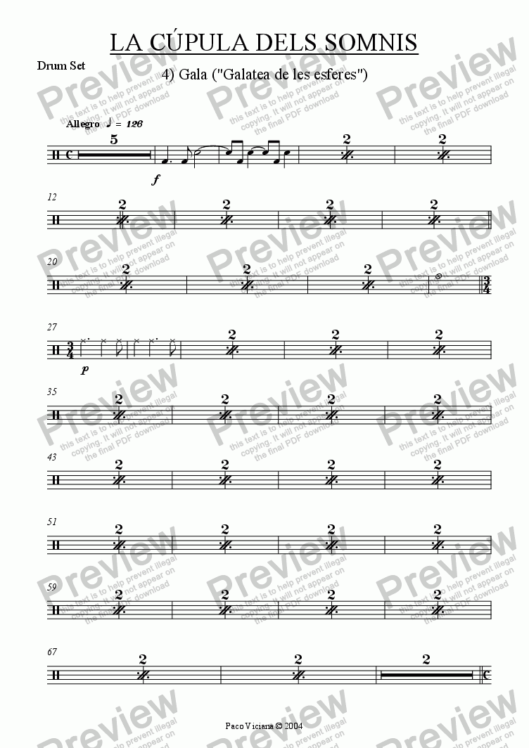 page one of the Drum Set part from 209-La cúpula dels somnis (04-Gala)-cobla version