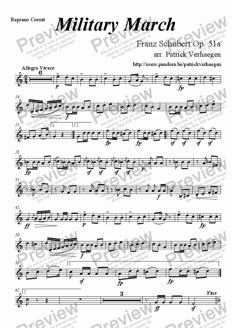page one of the repiano cornet part from Military March (for brass band)