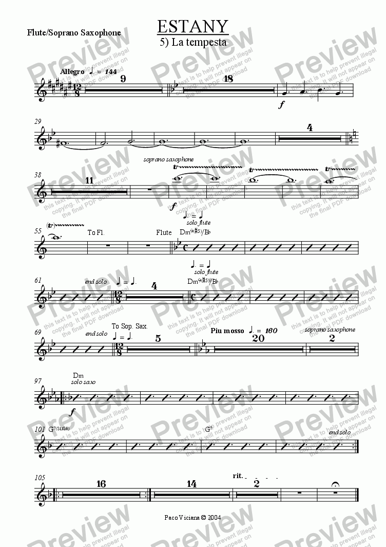 page one of the Flute/Soprano Saxophone part from 210-Estany (05-La tempesta)
