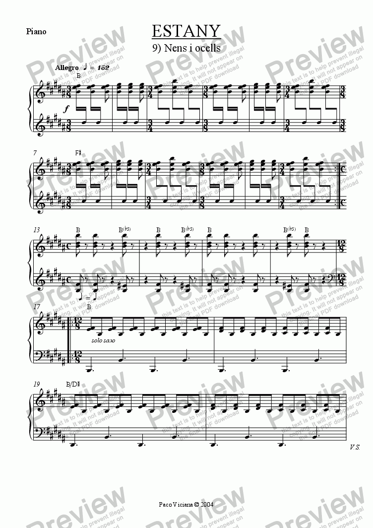 page one of the Piano part from 210-Estany (09-Nens i ocells)